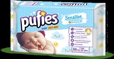 Влажные салфетки Puffies Sensitive